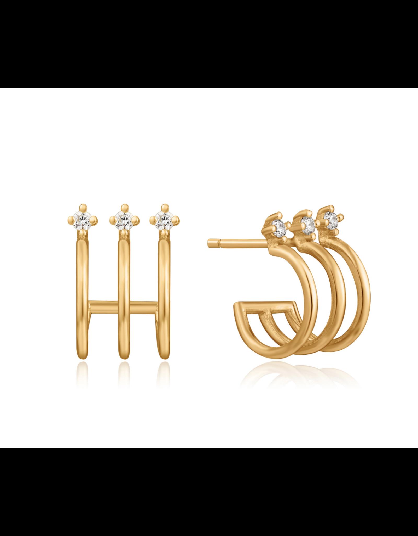 Ania Haie Tripe Mini Hoop Stud Earrings, gold