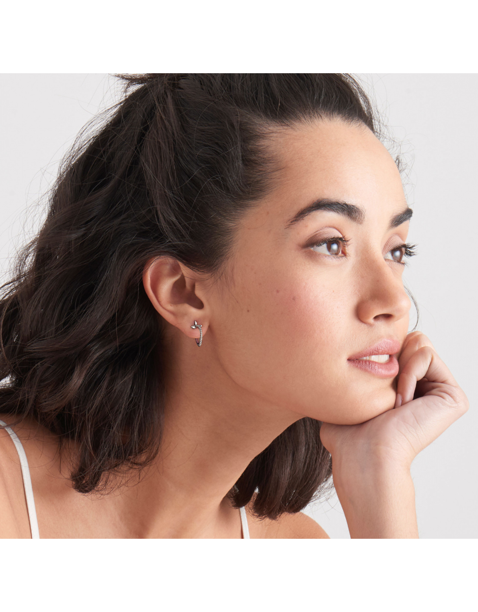 Ania Haie Modern Beaded Hoop Earrings, silver