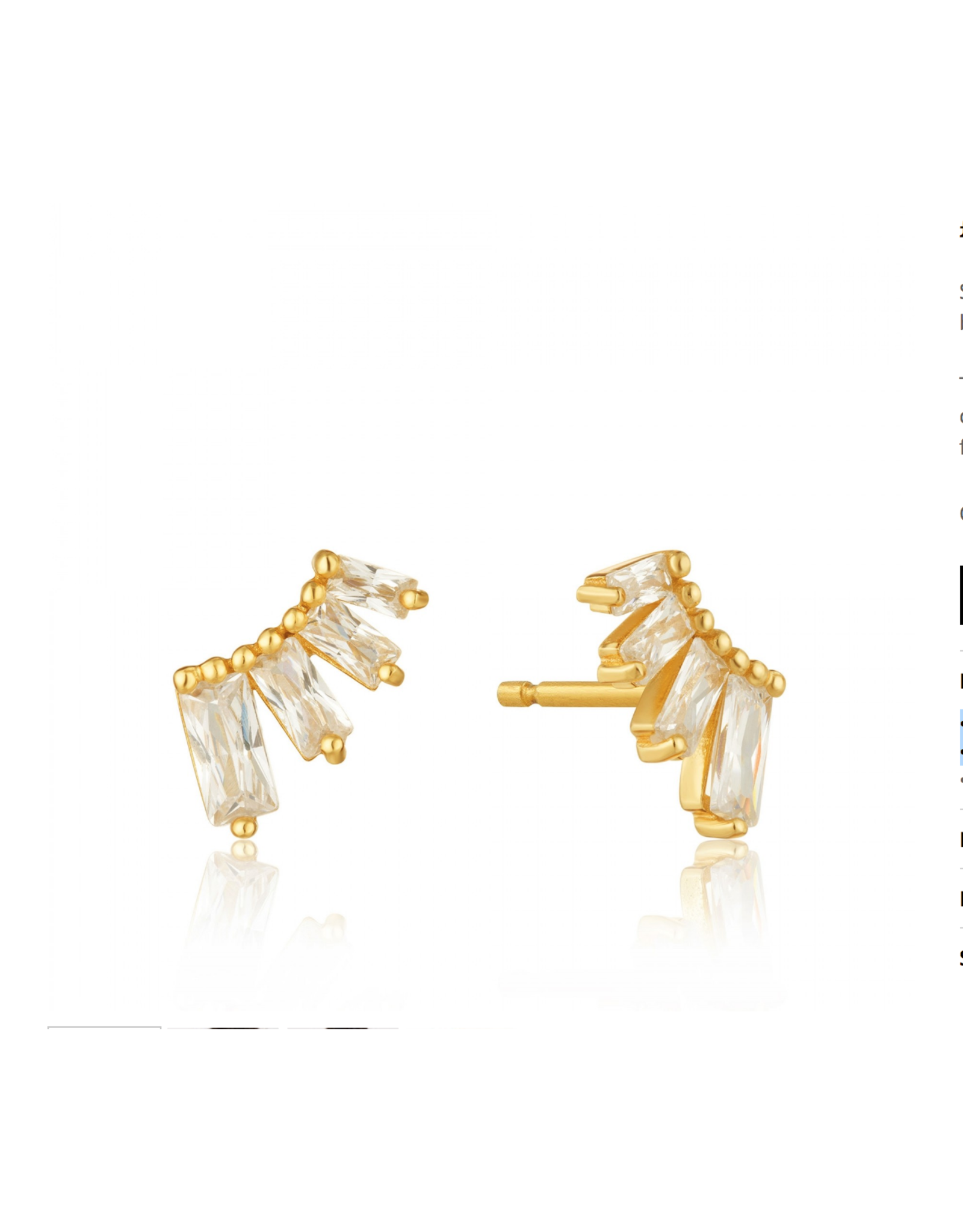 Ania Haie Glow Bar Stud Earrings, gold