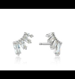 Ania Haie Glow Bar Stud Earrings, silver