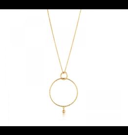 Texture Double Circle Pendant Necklace