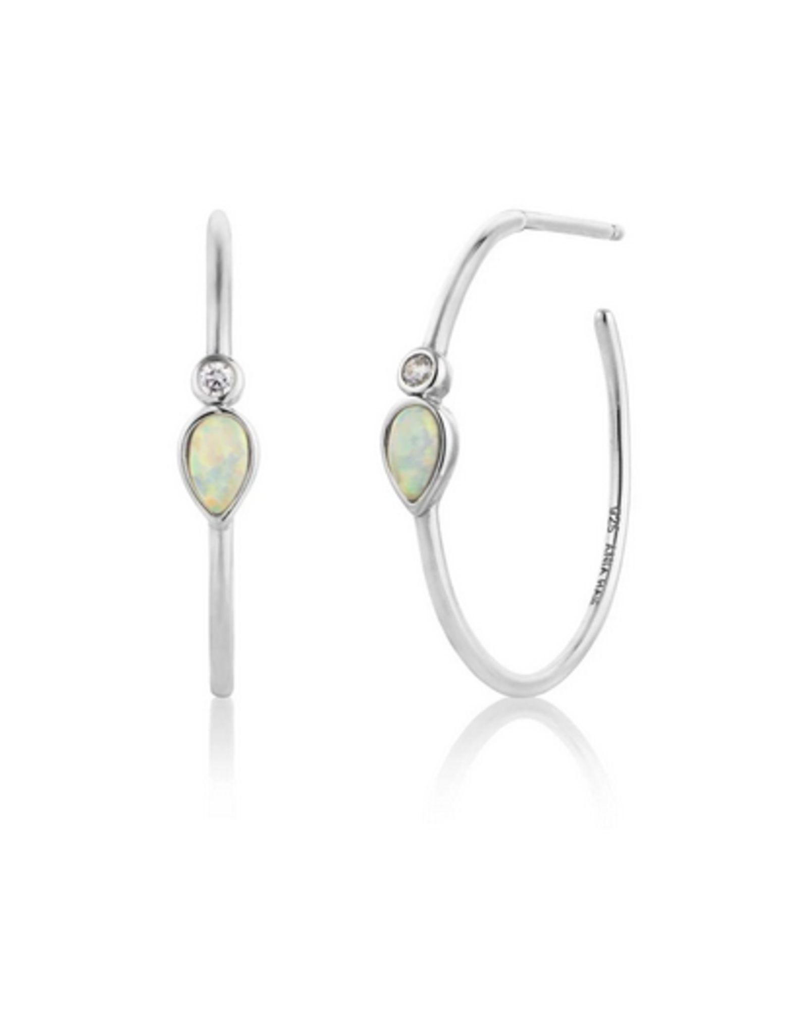 Ania Haie Opal Colour Raindrop Hoop Earrings, silver