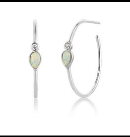 Ania Haie Opal Colour Raindrop Hoop Earrings, silver