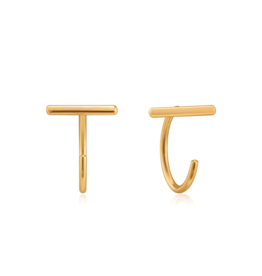 Ania Haie T-Bar Twist Earrings, gold