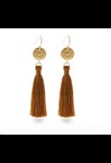 Hammered Gold Disk Tassel Earrings, tierra