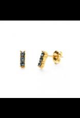 Triple Crustal Studs, smoke sapphire/gold