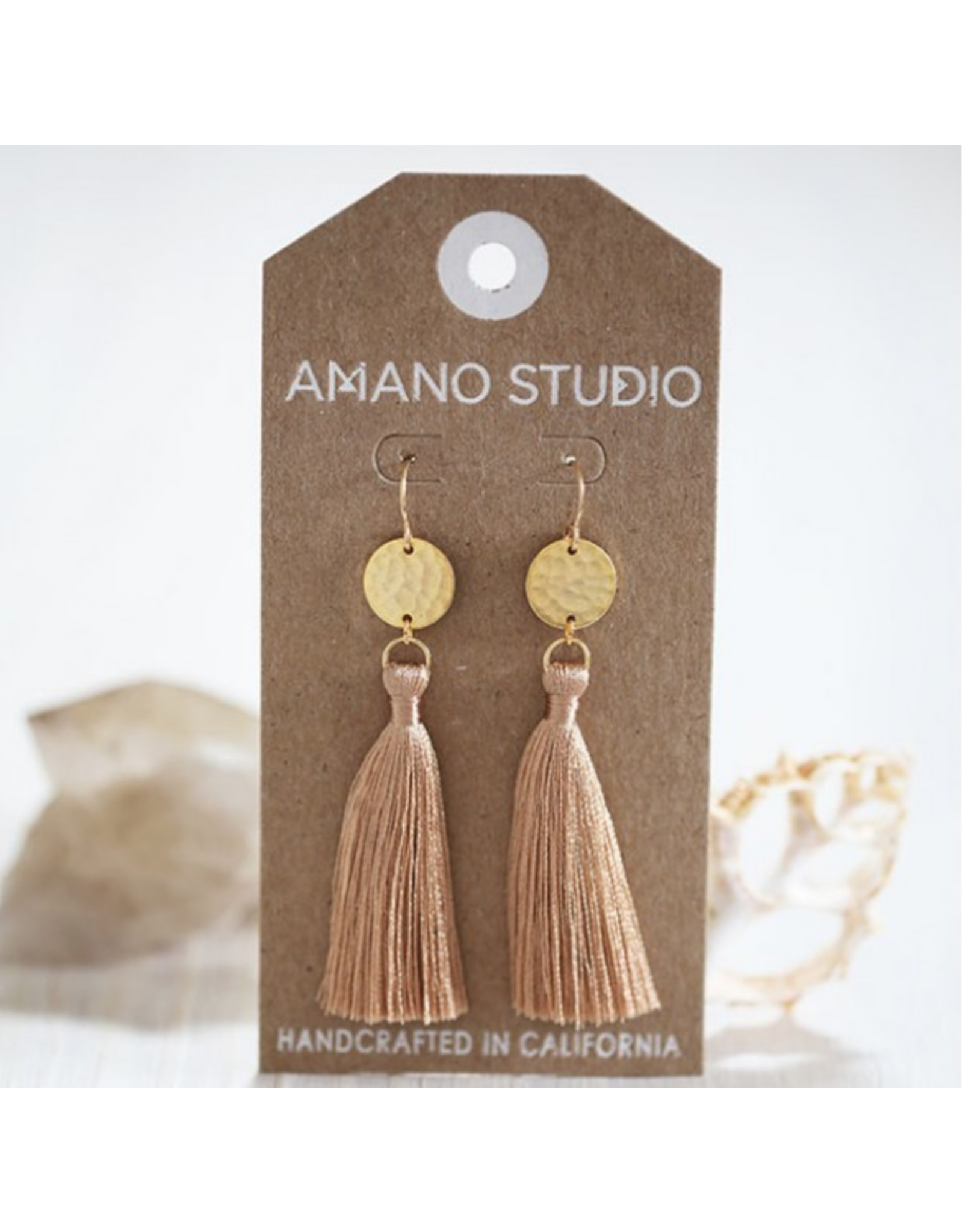 Hammered Gold Disk Tassel Earrings, driftwood