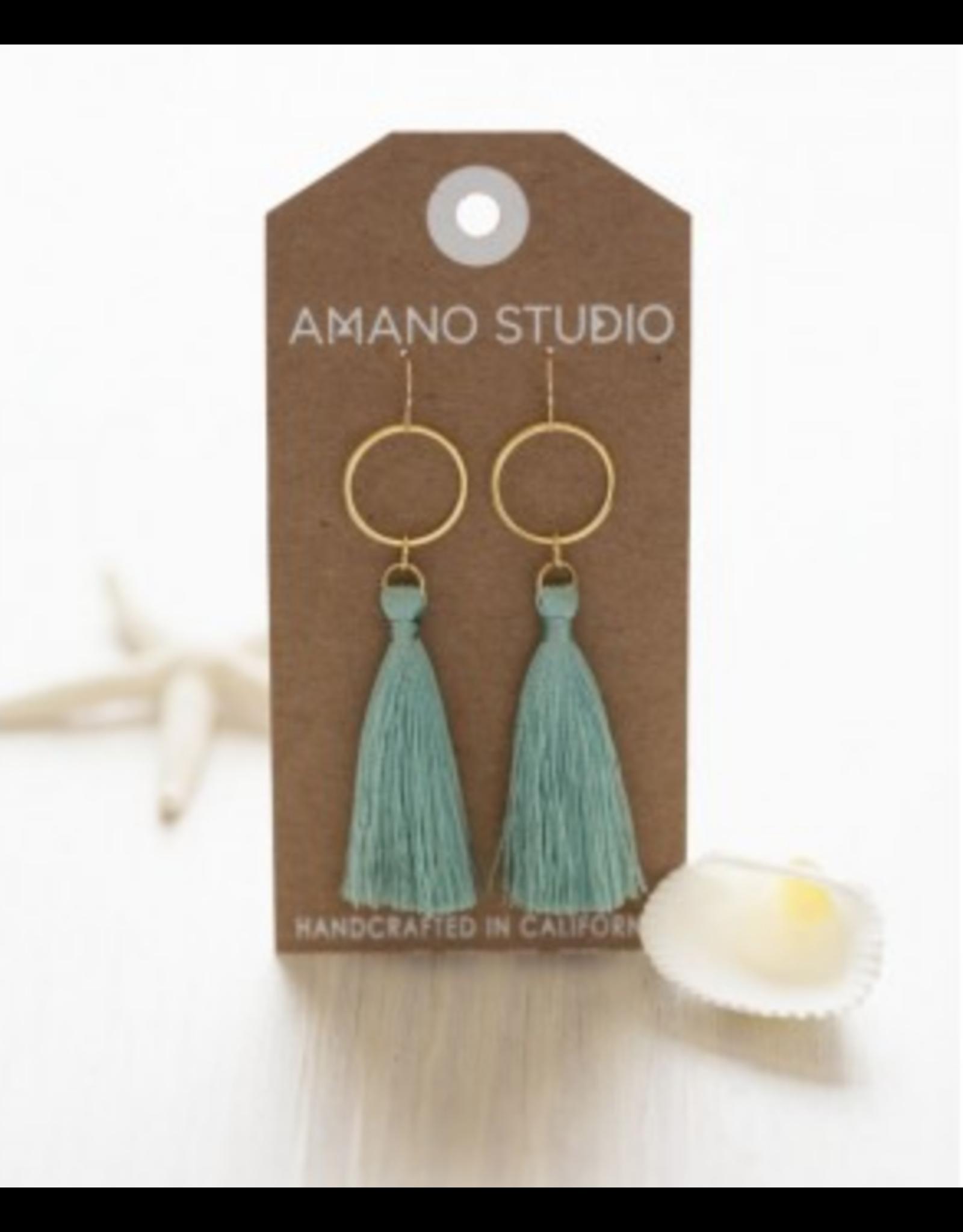 Hammered Gold Disk Tassel Earrings, seafoam