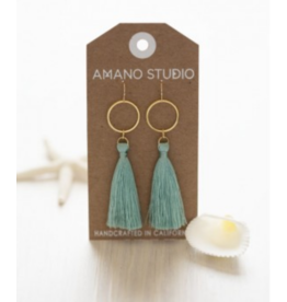 Hammered Gold Disk Tassel Earrings, seafoam