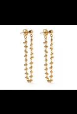Beaded Vine Stud Earrings, gold