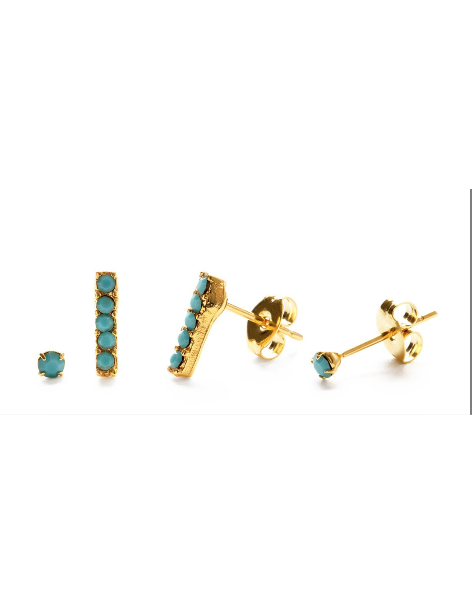 Victoria Stud Combo Set, gold/crystals/turquoise