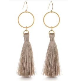 Hammered Gold Disk Tassel Earrings, taupe
