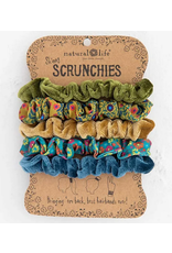 Natural LIfe Mixed Scrunchies, Set of 5, green gold