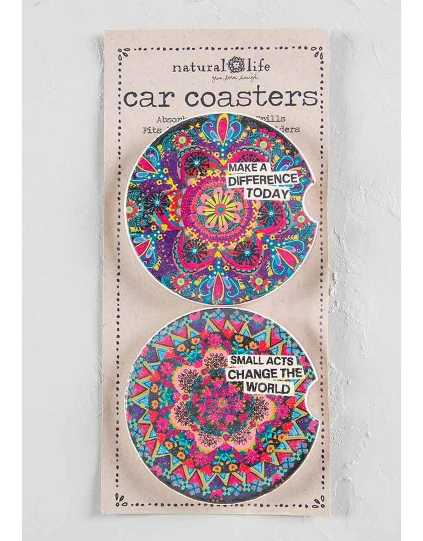 Natural LIfe Car Coaster, Set of 2, Make a Difference Today