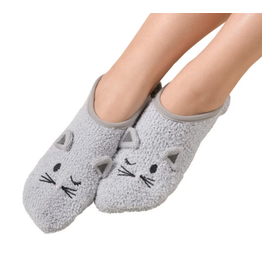 Marshmallow Critter Cat Slipper, soft grey, S/M