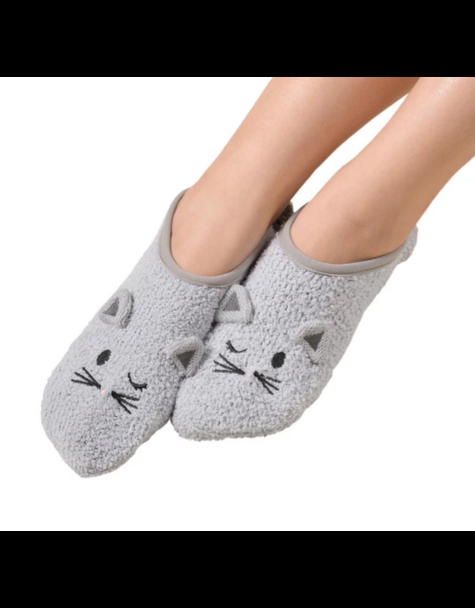 Marshmallow Critter Cat Slipper, soft grey, L/XL