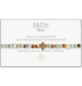 L&E Faith Over Fear Stretch Bracelet, amazonite