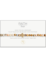 L&E Faith Over Fear Stretch Bracelet, mexican agate