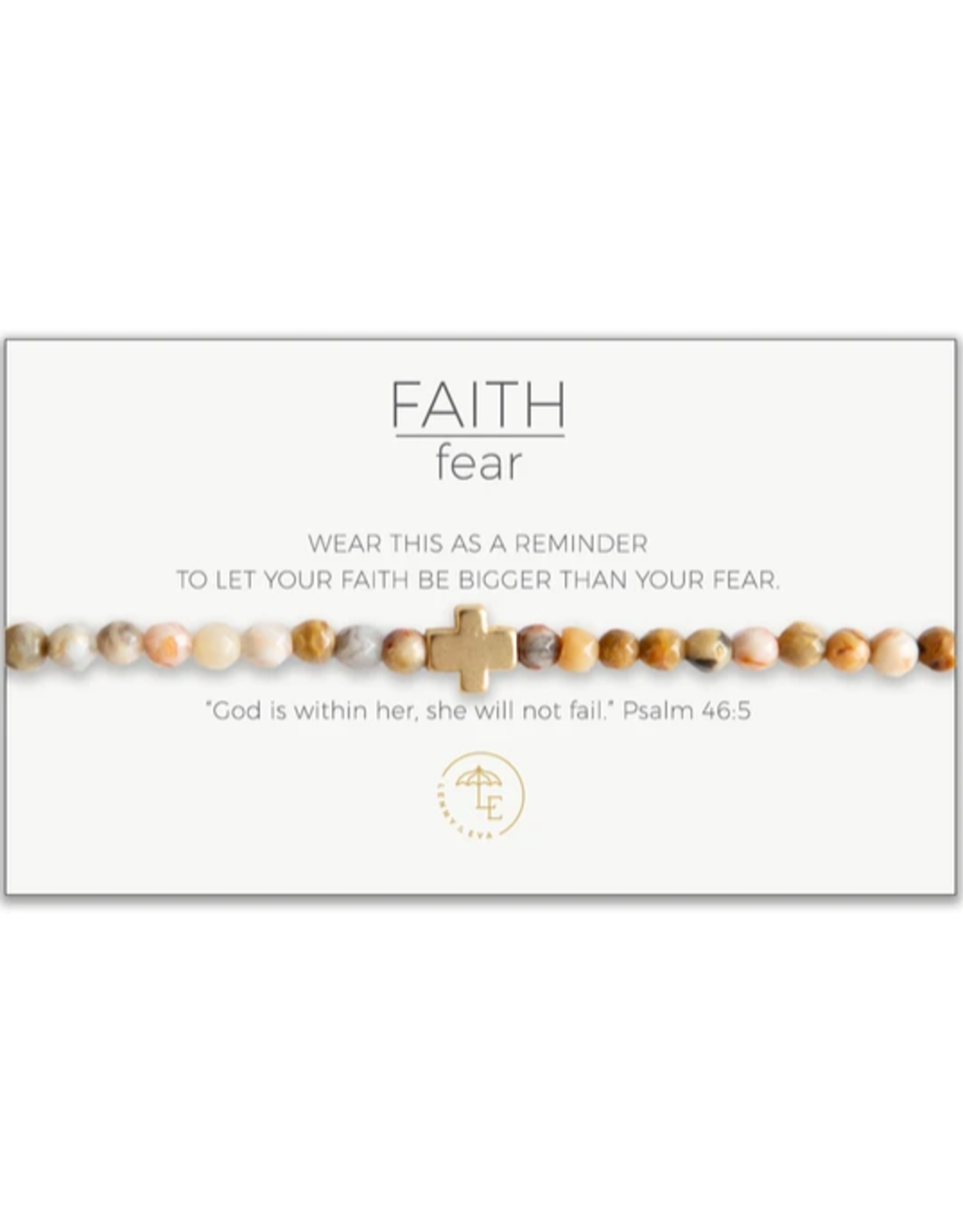 Faith Over Fear Stretch Bracelet, mexican agate