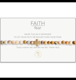 Faith Over Fear Stretch Bracelet, mexican agate