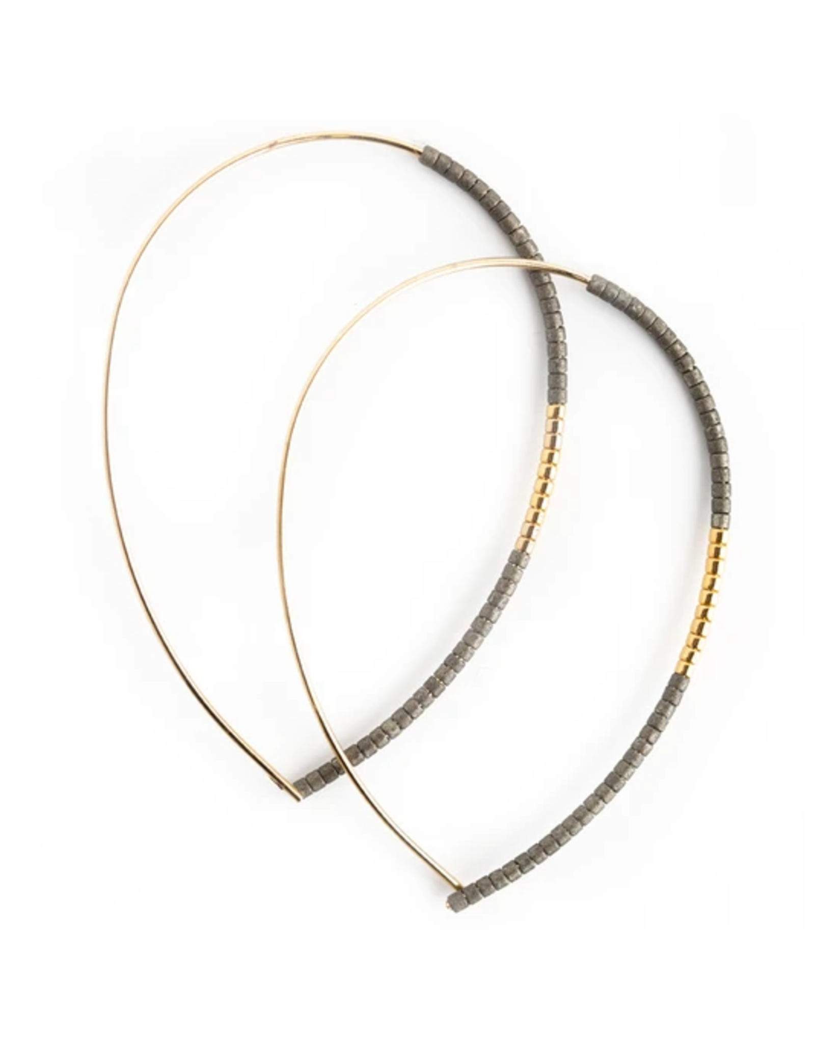 L&E Norah Earrings, matte graphite gold