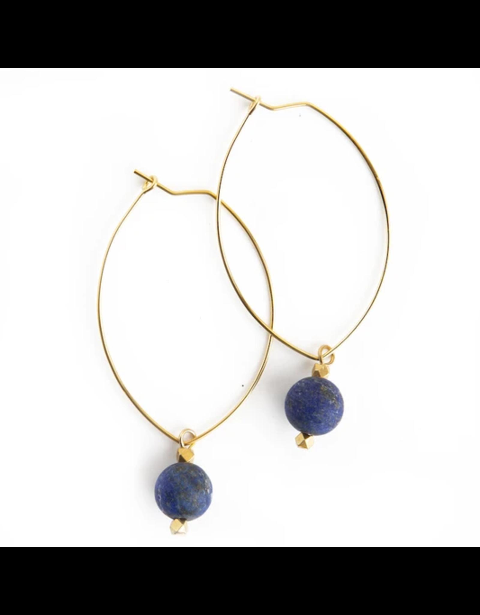 L&E Lenny Gemstone Dangle Earrings, lapis lazuli