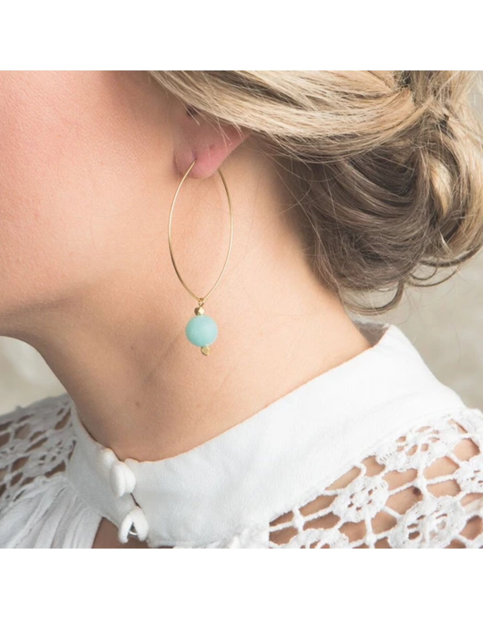 L&E Lenny Gemstone Dangle Earrings, amazonite