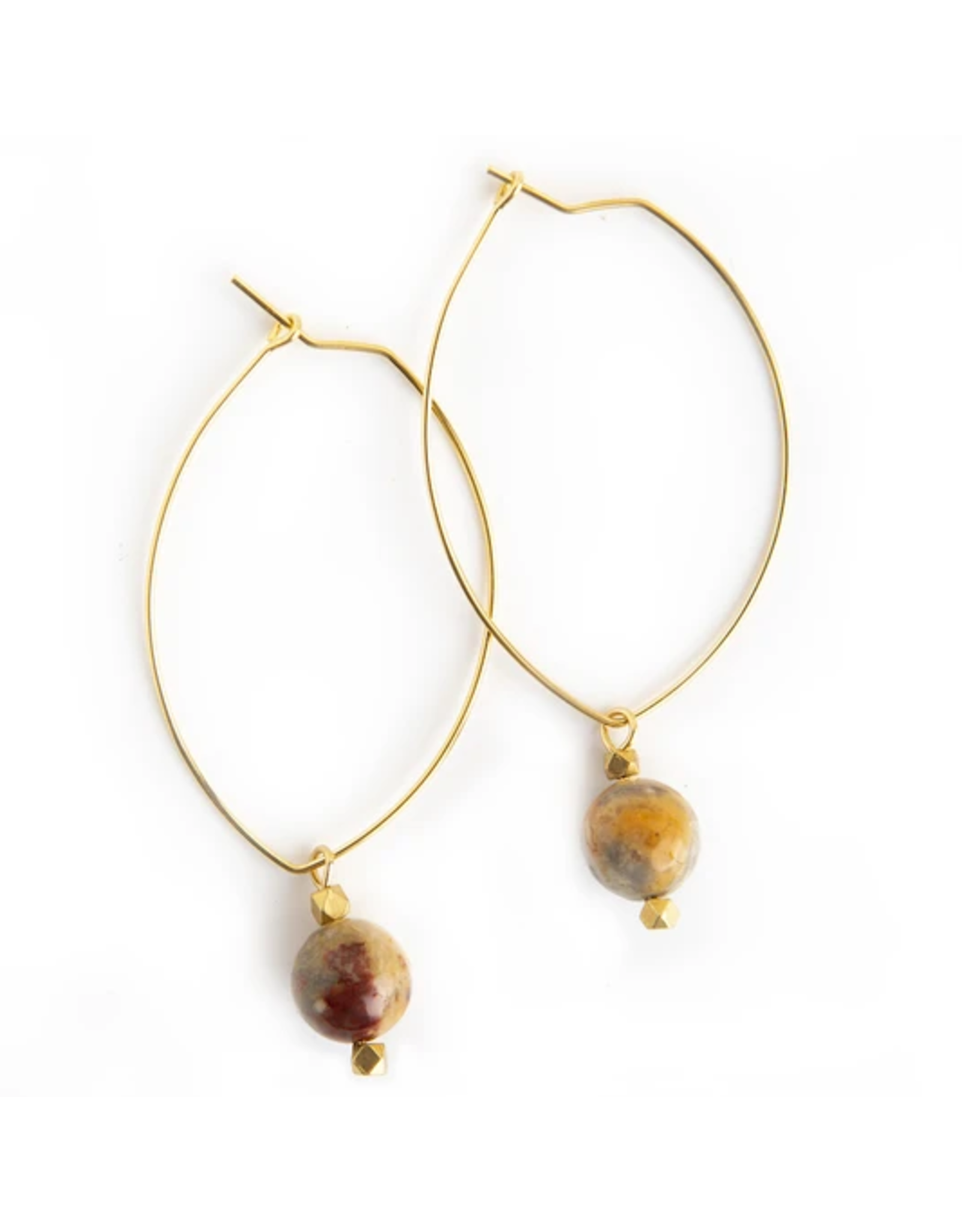 L&E Lenny Gemstone Dangle Earrings, mexican agate
