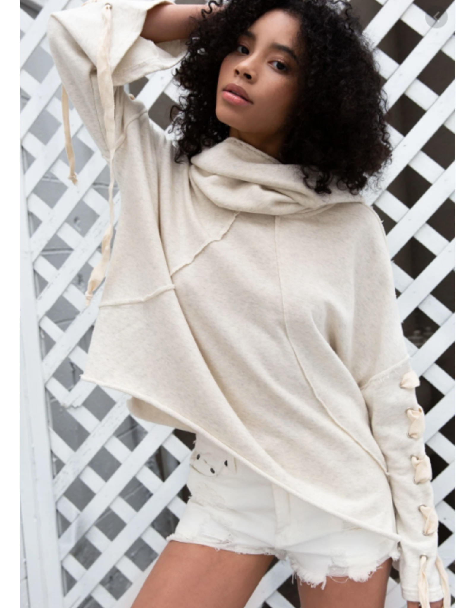 Cowl Neck hoodie with Drawstring Sleeves