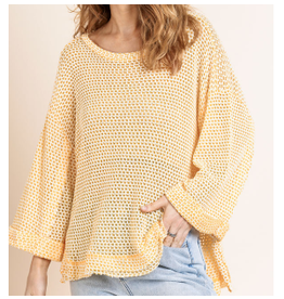 Waffle Knit Top with cuffed 3/4 sleeve