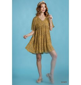 Animal Print SS V-Neck Babydoll Dress, Honey