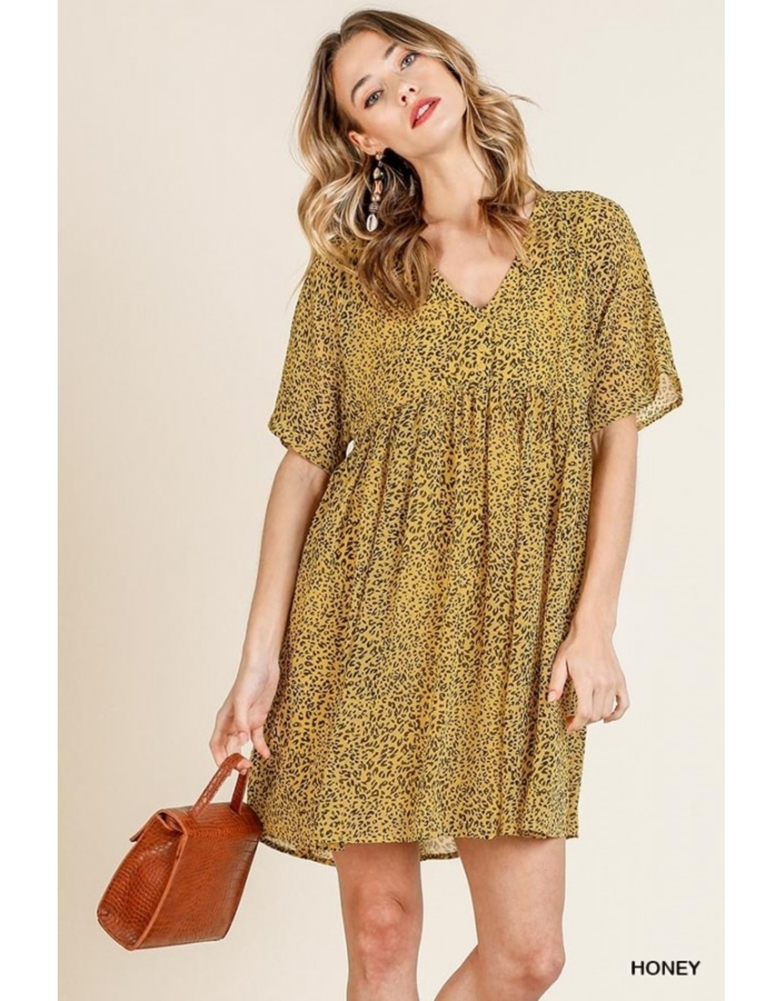 Animal Print SS V-Neck Babydoll Dress, Honey