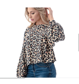 Animal Knit Banded Top