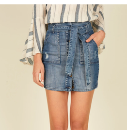 Denim Paperbag Skirt with Piping Trim