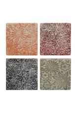 Square Ceramic Coasters, S/4, embossed floral
