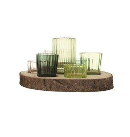 Paulownia Wood Tray w/7 Glass Votive Holders