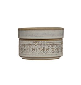 "3-3/4"" Round x 2-1/2""H Stoneware Stackable Container/Dish,"