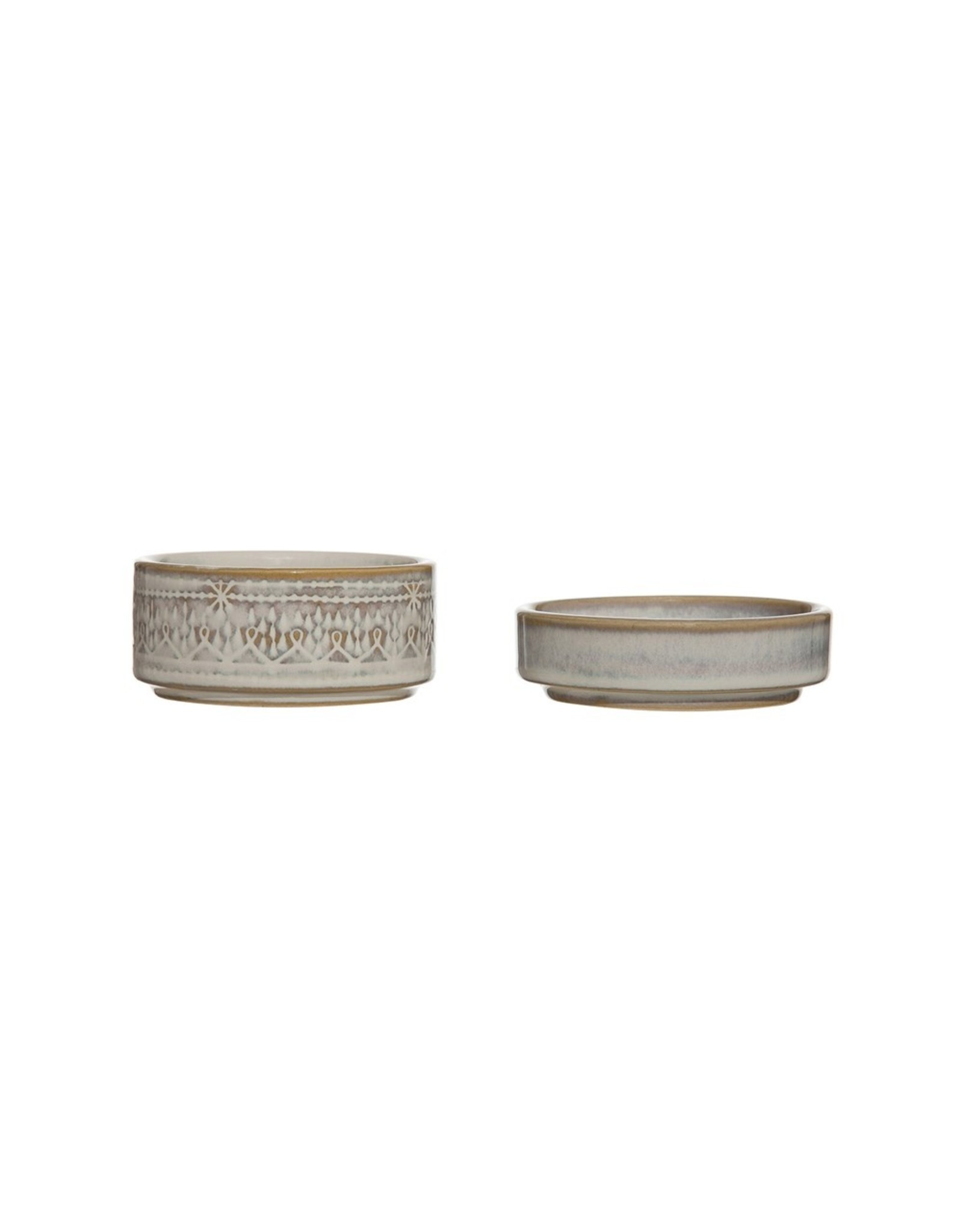 """3-3/4"""" Round x 2-1/2""""H Stoneware Stackable Container/Dish,"""