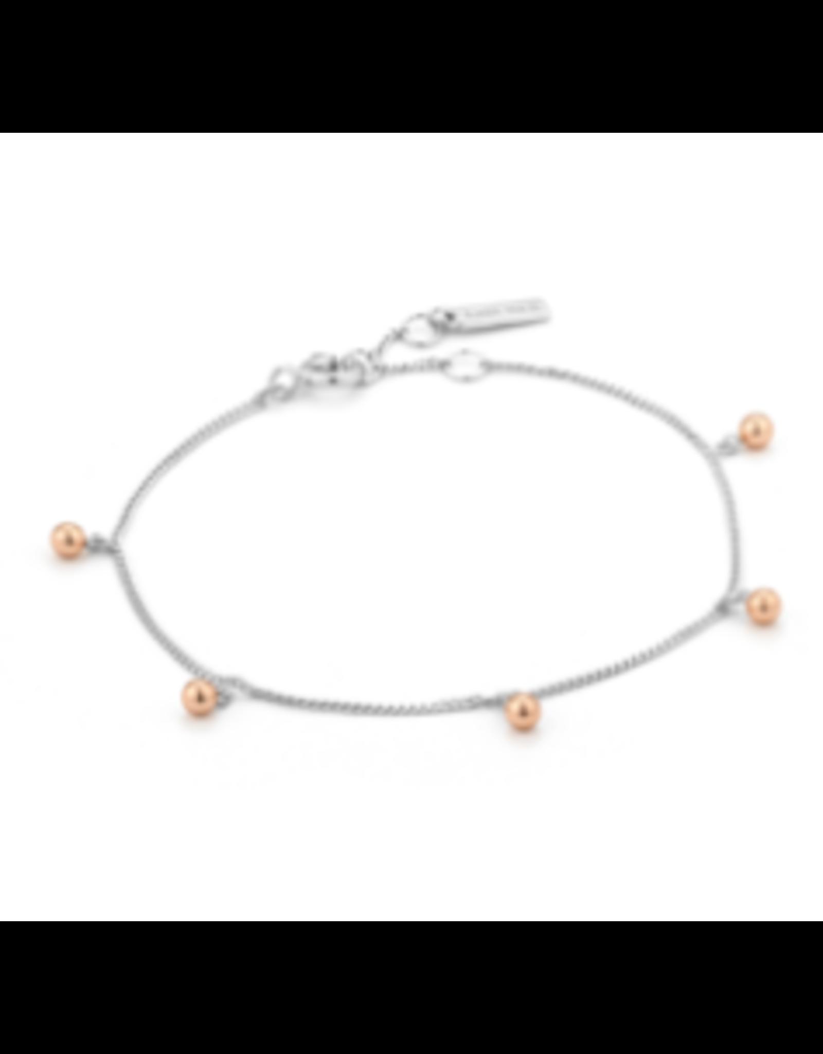 Orbit Drop Balls Bracelet, silver & rose gold