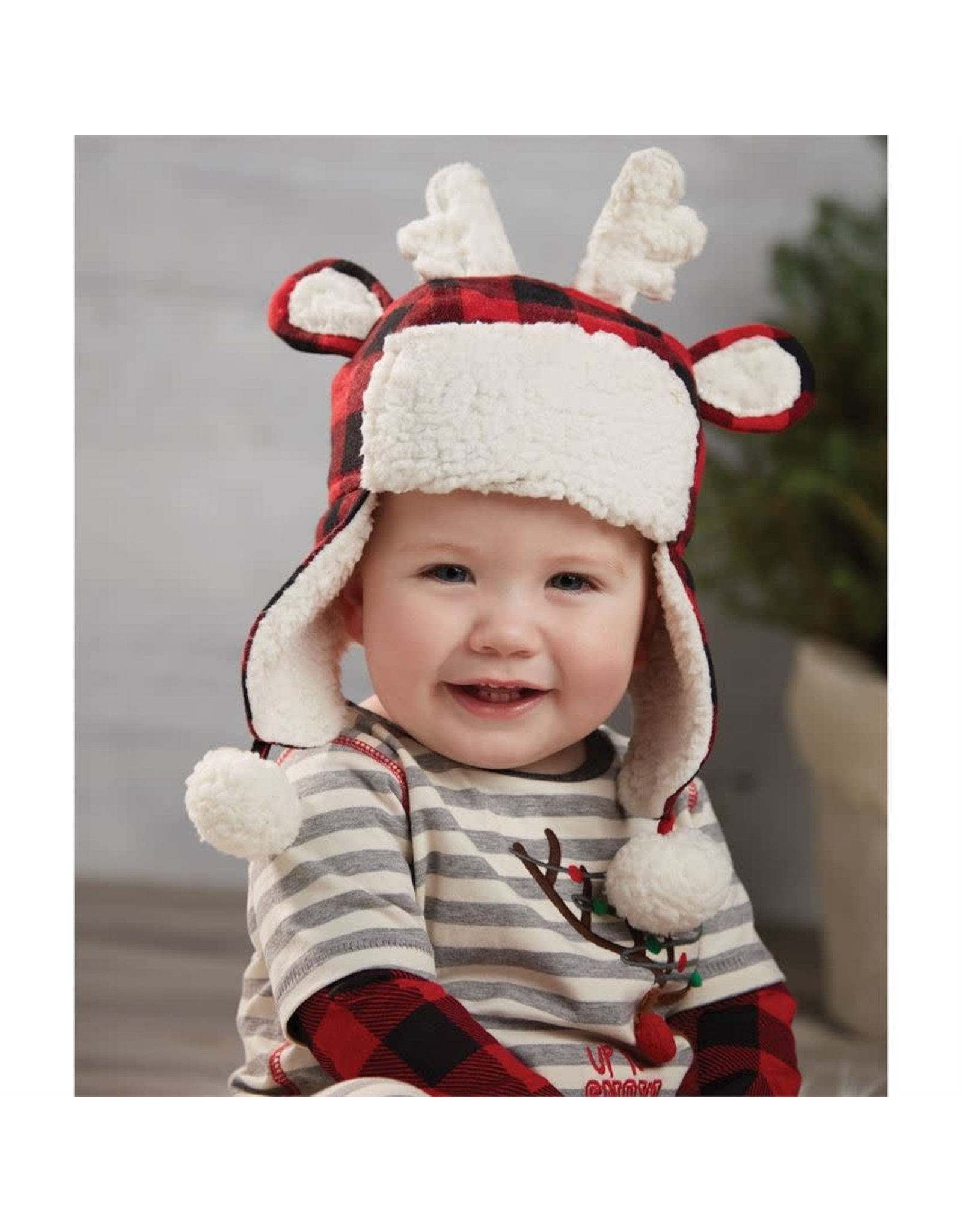 Mud Pie Buffalo Check Reindeer Hat