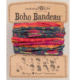 Natural LIfe Boho Bandeau, Navy Red Flower Mandala