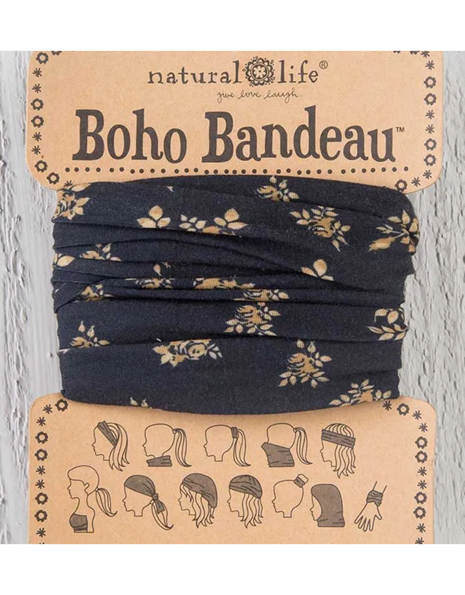 Natural LIfe Boho Bandeau, Black and Cream Floral
