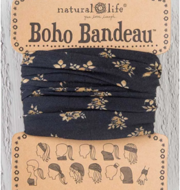 Natural LIfe Boho Bandeau, Black and Cream Floral