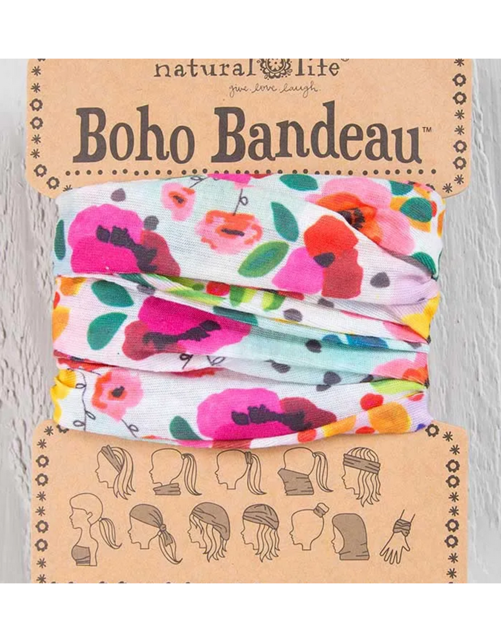 Natural LIfe Boho Bandeau, Pink Floral Polka