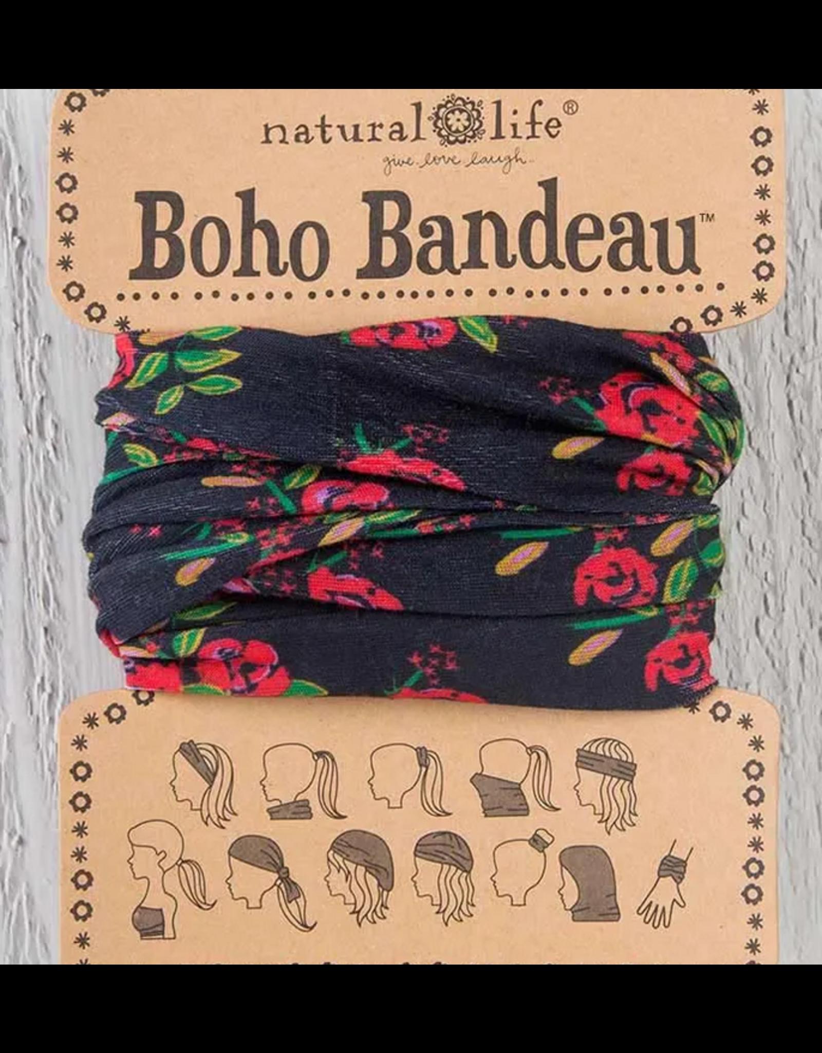 Natural LIfe Boho Bandeau, Black Blooms