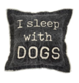 Mud Pie Washed Canvas Pillow, I Sleep with Dogs