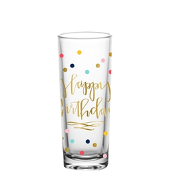 Happy Birthday with Multi Color Confetti Shot Glass
