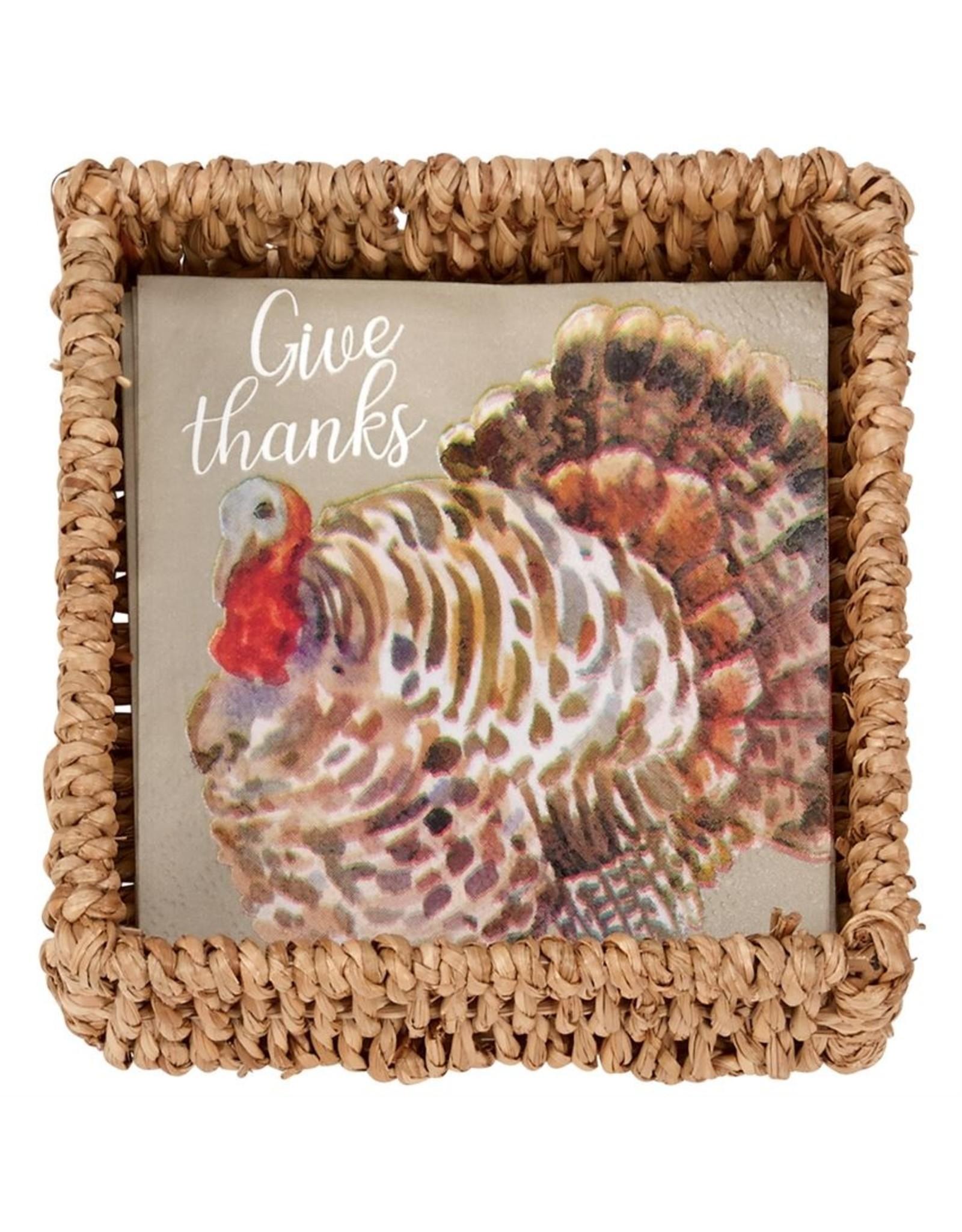 Mud Pie Turkey Paper Napkins in Basket