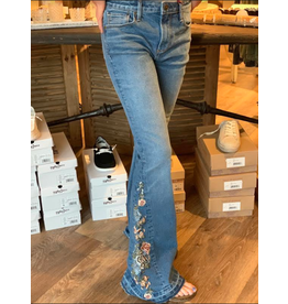 Farrah X Seville-Floral Embroidered Insert Flare Jean