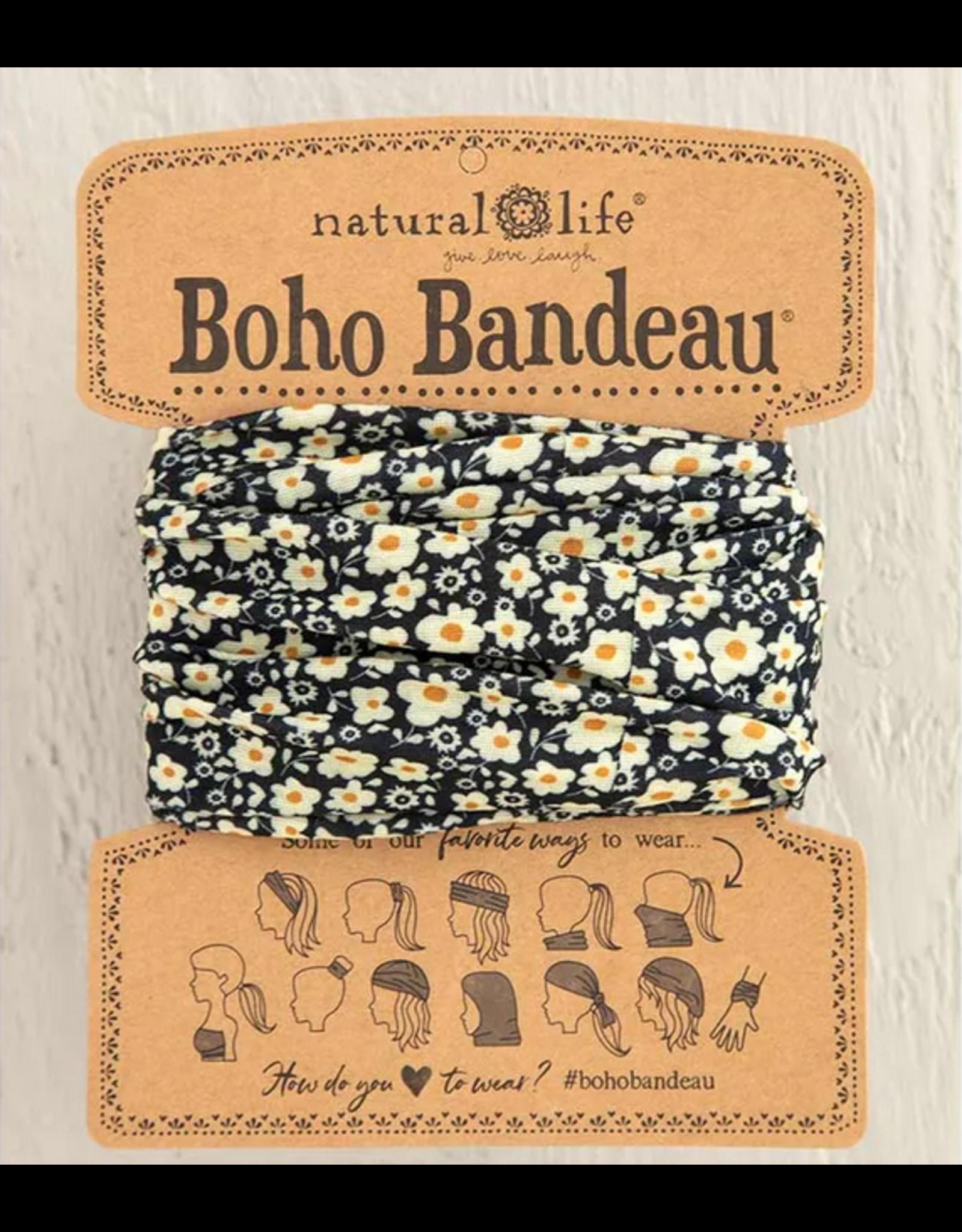 Natural LIfe Boho Bandeau, Black Cream Floral